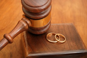 Austin divorce attorney gavel and rings