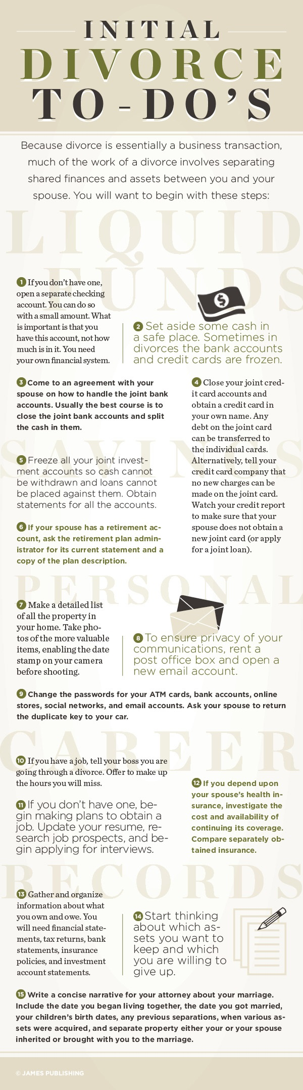 Austin divorce attorney - Initial Divorce To-Do's Infographic